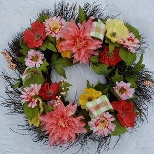 Coral Floral Wreath New!